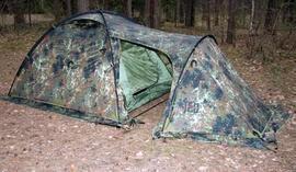 Застегнуть все молнии и растянуть оттяжки Палатка туристическая с большим тамбуром. Tengu Mark 11T