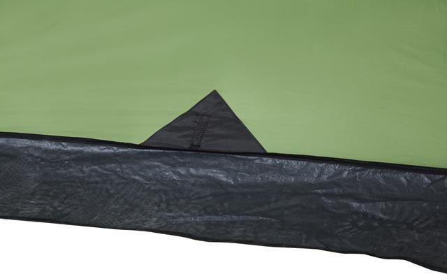 Юбка по периметру. Усиленный узел крепления оттяжки. Палатка с двумя спальнями (3+3) и большим тамбуром посередине KSL Macon 6