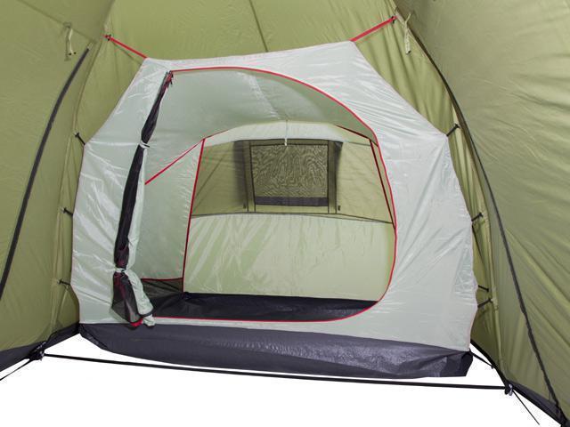 Спальня подвешена на оттяжках изнутри. Четырехместная кемпинговая палатка с двумя спальнями и большим тамбуром KSL Macon 4