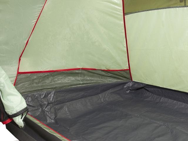 Прочное дно из армированного полиэтилена. Четырехместная кемпинговая палатка с двумя спальнями и большим тамбуром KSL Macon 4