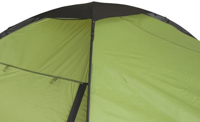 Вентиляция в куполе с защитой от дождя. Четырехместная кемпинговая палатка с двумя спальнями и большим тамбуром KSL Macon 4