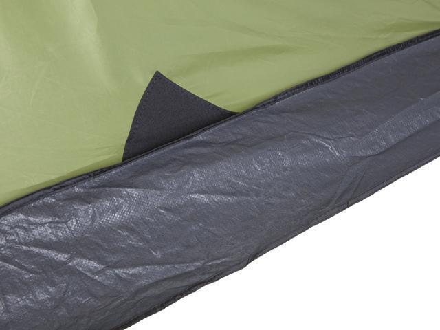 Юбка по периметру защищает от холода и ветра. Четырехместная кемпинговая палатка с двумя спальнями и большим тамбуром KSL Macon 4