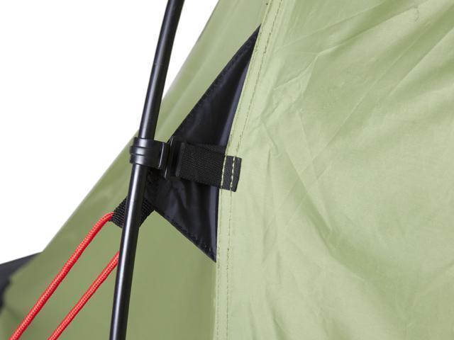 Узел крепления клипсы и оттяжки. Четырехместная кемпинговая палатка с двумя спальнями и большим тамбуром KSL Macon 4