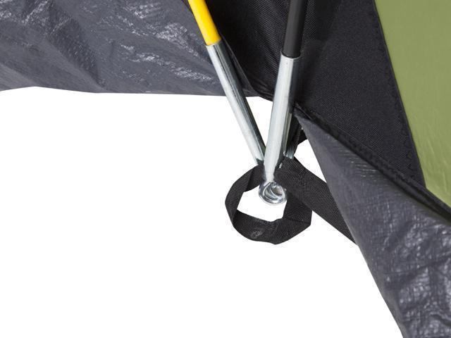 Надежный узел стыковки дуг. Четырехместная кемпинговая палатка с двумя спальнями и большим тамбуром KSL Macon 4