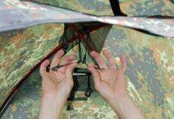 Закрепить дуги в верхней точке купола Легкая однослойная палатка Tengu MARK 19T
