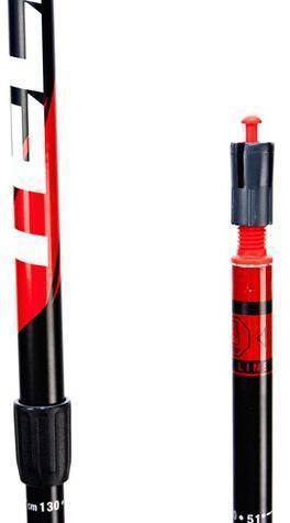 Система блокировки BS обеспечивает надёжную фиксацию колена палки до 78,5 кг вертикальной нагрузки на одну палку. Телескопические палки для скандинавской ходьбы Masters Telescopic