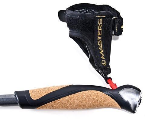 Система быстрого отсоединения темляка для удобного высвобождения руки во время тренировки. Телескопические палки для скандинавской ходьбы Masters Training Speed