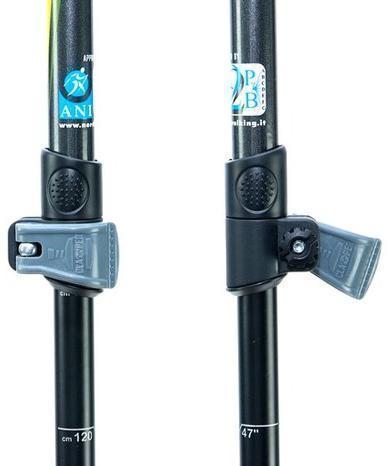 Система блокировки CLAMPER. Позволяет быстро зафиксировать высоту палки в одно движение даже в перчатках. А так же обеспечивает надёжную фиксацию колена палки до 63 кг вертикальной нагрузки на одну палку. Телескопические палки для скандинавской ходьбы Masters Training Speed