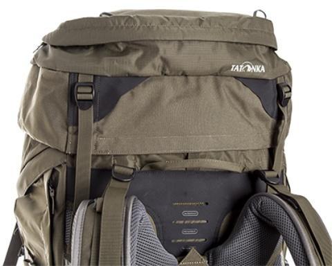 Регулировка высоты крышки при помощи строп - Туристический рюкзак для переноски тяжелых грузов Bison 75 navy