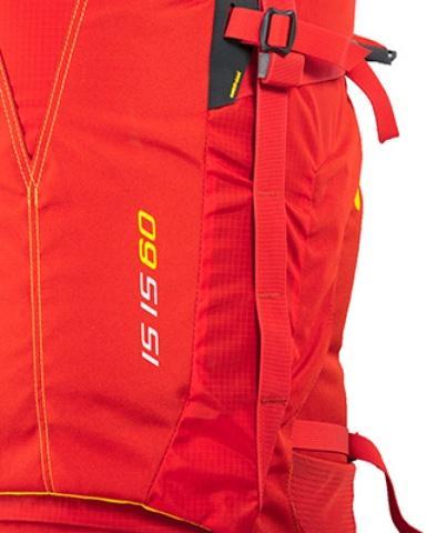 Петли molle для продевания шнура и крепления дополнительных вещей - Женский трекинговый туристический рюкзак Isis 60 red