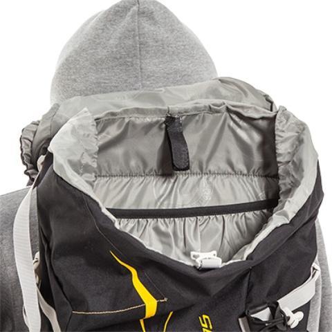 Внутренний карман на резинке в спине рюкзака - Легкий горный рюкзак Cima di Basso 35 blue/carbon