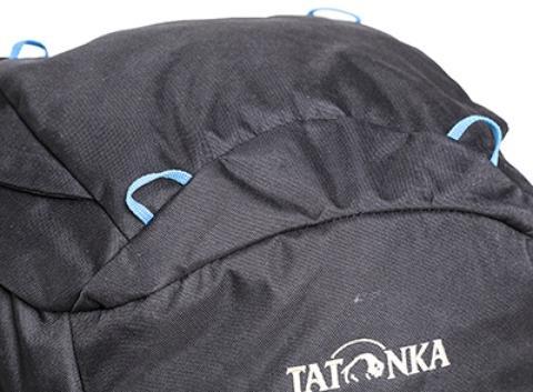 Петли на крышке рюкзака: можно пропустить шнур и разместить куртку или каску - Универсальный трекинговый туристический рюкзак среднего объема Tamas 70 black