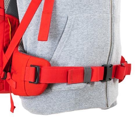 Регулирующийся поясной ремень - Женский трекинговый туристический рюкзак Isis 60 red