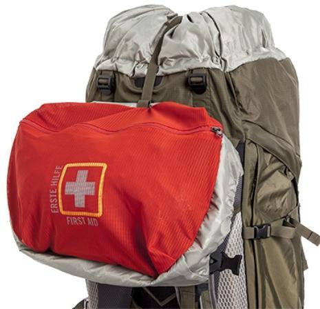 Ярко обозначенный карман для аптечки на внутренней части крышки - Туристический рюкзак для переноски тяжелых грузов Bison 120 black