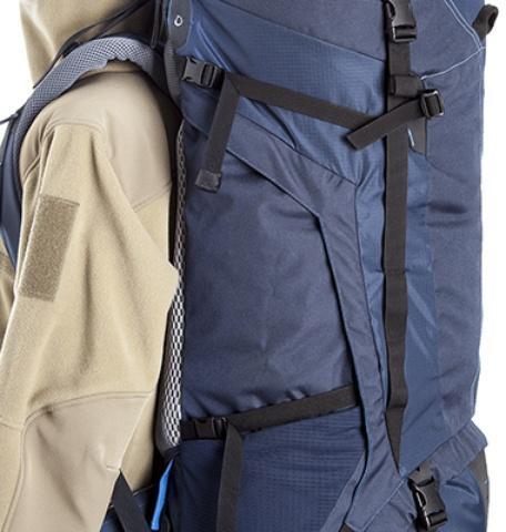 Боковые утягивающие стропы - Трекинговый туристический рюкзак для продолжительных походов Yukon 70
