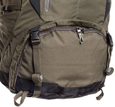 Вход в нижнее отделение на молнии с двумя бегунками - Туристический рюкзак для переноски тяжелых грузов Bison 120 black