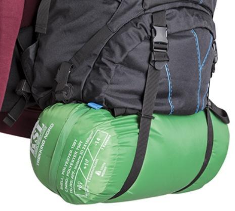 Нижние стропы удлинены специально, для возможности разместить палатку или спальник - Универсальный трекинговый туристический рюкзак среднего объема Tamas 70 black