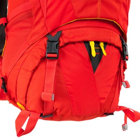 Доступ в нижнее отделение на молнии с двумя бегунками - Женский трекинговый туристический рюкзак Isis 60 red