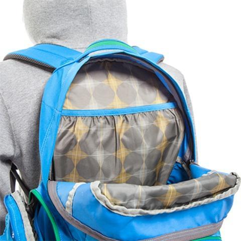 Карман на резинке в спинке рюкзака: идеален для документов и книг A4 - Городской рюкзак с множеством карманов Kangaroo bright blue