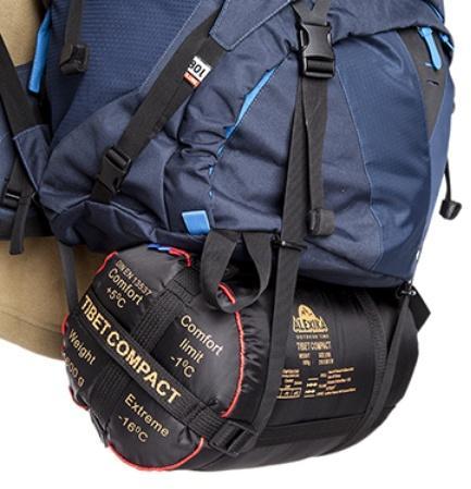 Удлиненные нижние стропы: возможно закрепить палатку или коврик - Трекинговый туристический рюкзак для продолжительных походов Yukon 70