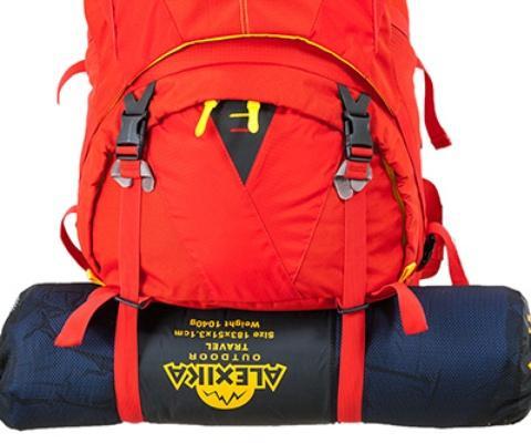 Длинные нижние стропы для размещения палатки или коврика - Женский трекинговый туристический рюкзак Isis 60 red