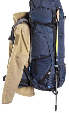 Верхние и нижние петли для крепления треккинговых палок - Трекинговый туристический рюкзак для продолжительных походов Yukon 70