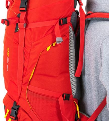 Боковые утягивающие стропы - Женский трекинговый туристический рюкзак Isis 60 red