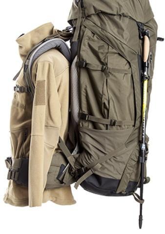 Верхние и нижние петли для треккинговых палок - Туристический рюкзак для переноски тяжелых грузов Bison 120 black