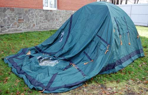 Накинуть внешний тент на установленную внутреннюю палатку. Инструкция по Grand Tower 4