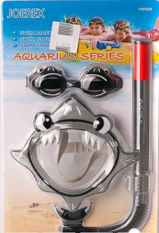 Набор детский в дизайне акулы Joerex SSM1807(маска + трубка+очки)