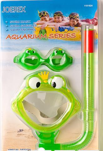 Набор детский в дизайне лягушки Joerex SSM1807(маска + трубка+очки)