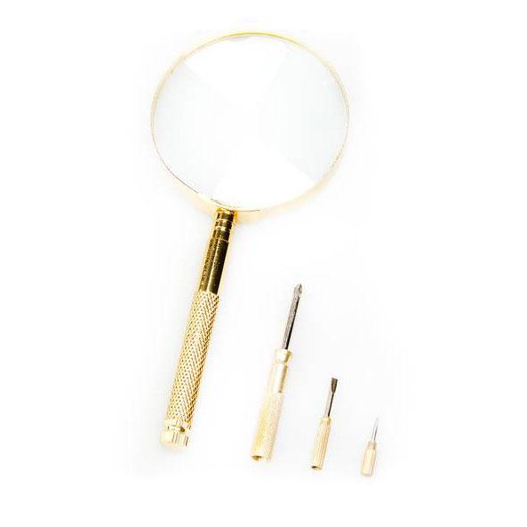 Лупа с ручкой и отвертками Veber 599909, 4x, 65 мм