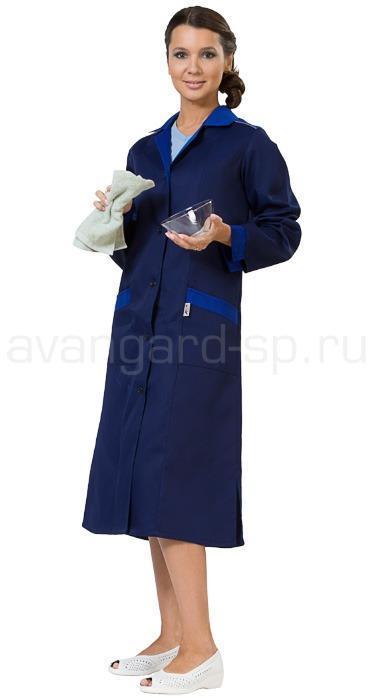 Халат женский Технолог (син.+василек), ткань смесовая