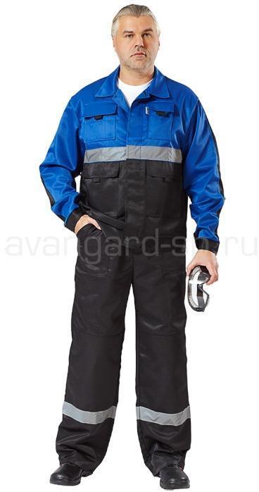 Костюм Навигатор, ткань смесовая с полукомбинезоном (черный+василек) РАСПРОДАЖА