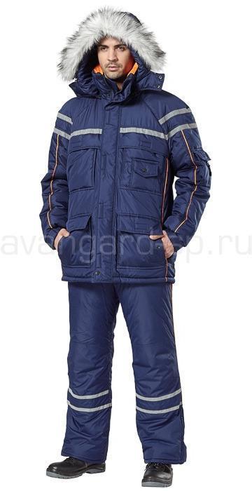 Костюм Аляска куртка+брюки (т.син+оранж.)