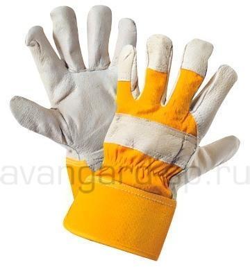 Перчатки кожаные комбинированные Юкон