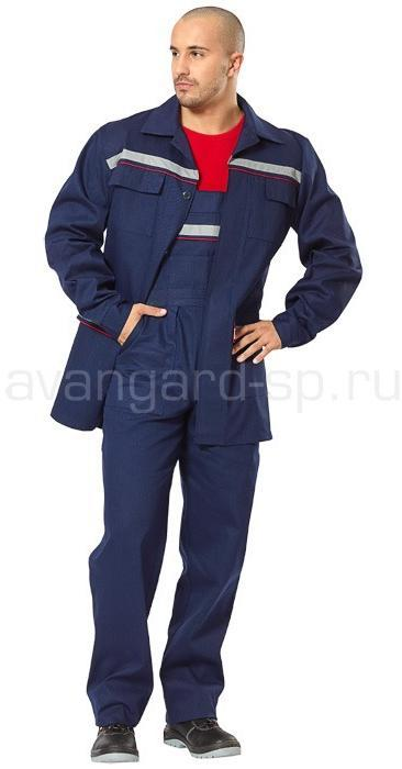 Костюм Профессионал (т.синий с СОП+кр.кант) (ткань саржа)