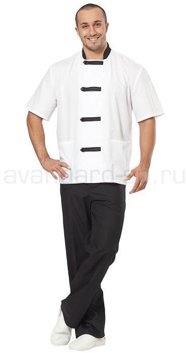 Костюм повара мужской Азия (цв. белый + черный)
