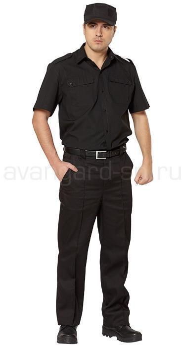 Рубашка охранника, короткий рукав, цвет черный