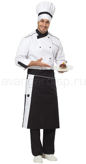 Комплект повара Шеф (китель, брюки, фартук, колпак) цвет черный+белый