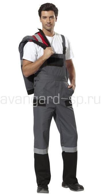 Полукомбинезон Виват мужской цвет серый с черной отделкой
