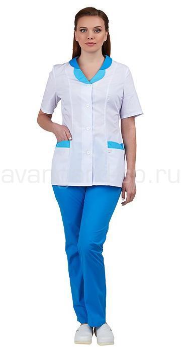 Комплект одежды медицинской женской Нимфа (блуза и брюки) (вас.+гол.), Медицинские костюмы - арт. 466520249