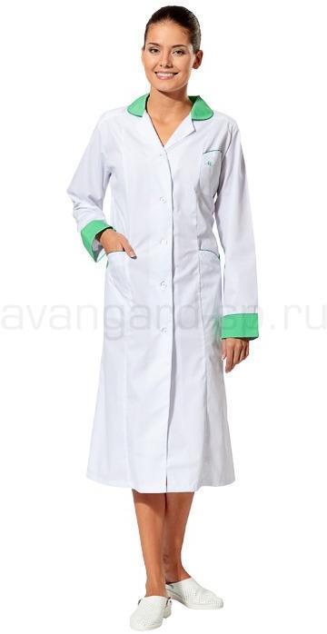 Халат Настроение женский медицинский (цв. белый с зеленой отд.)