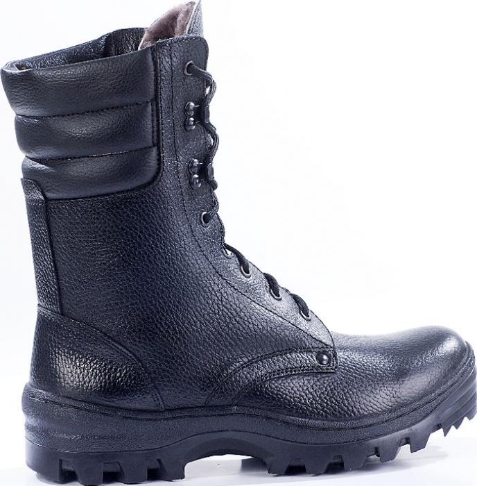 Зимние ботинки с высокими берцами ОМОН кожа 907 шерстяной мех