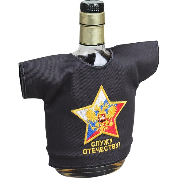 Рубашка-сувенир Служу Отечеству герб серая вышивка