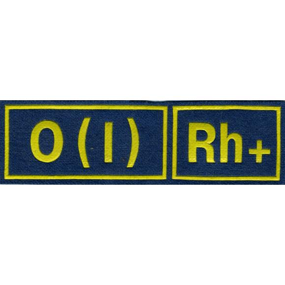 Нашивка на грудь Группа крови 1-я положительная МС голубая желтый шрифт пластик