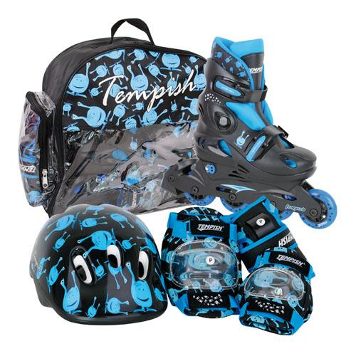 Комплект, 3 элемента защиты + ролики TEMPISH 2015 UFO baby skate set чёрный/синий