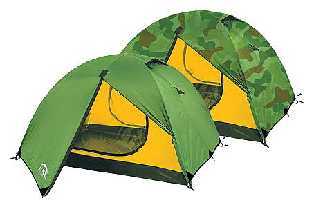 Трехместная туристическая палатка с двумя входам и двумя тамбурами KSL Camp 3 зеленый