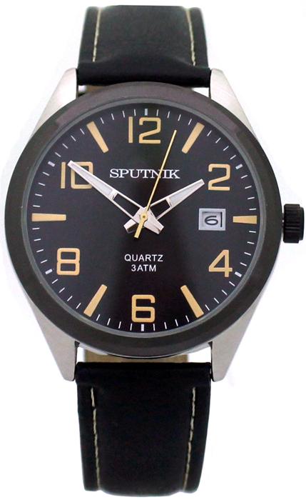 Наручные часы Спутник М-400600/1.3 (черн.,желт.оф.)