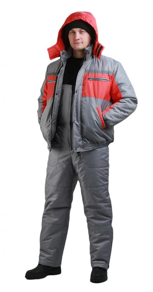 Костюм мужской Стим-Ямал зимний серый с красным